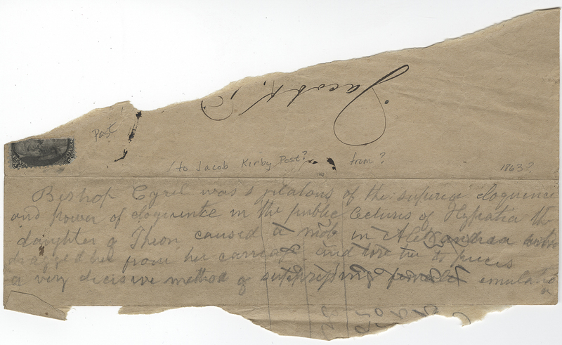 Unknown writer. Letter to Jacob Kirby ? Post.