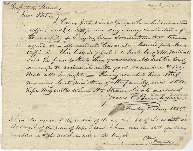 Burnham, Eleazer. Letter to Isaac Post.