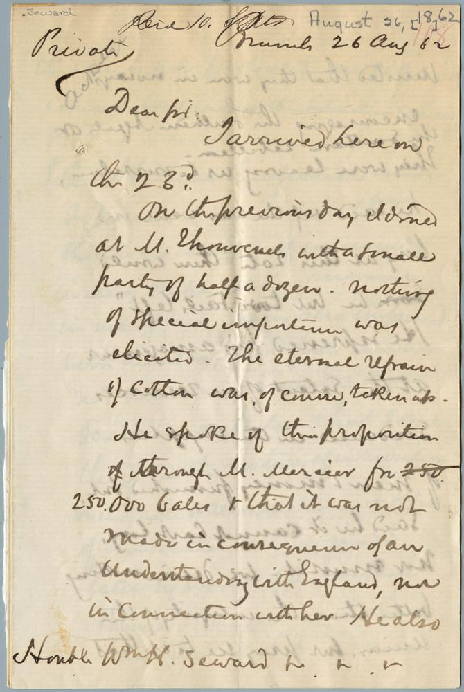 Letter from Henry Shelton Sanford to William Henry Seward, August 26, 1862