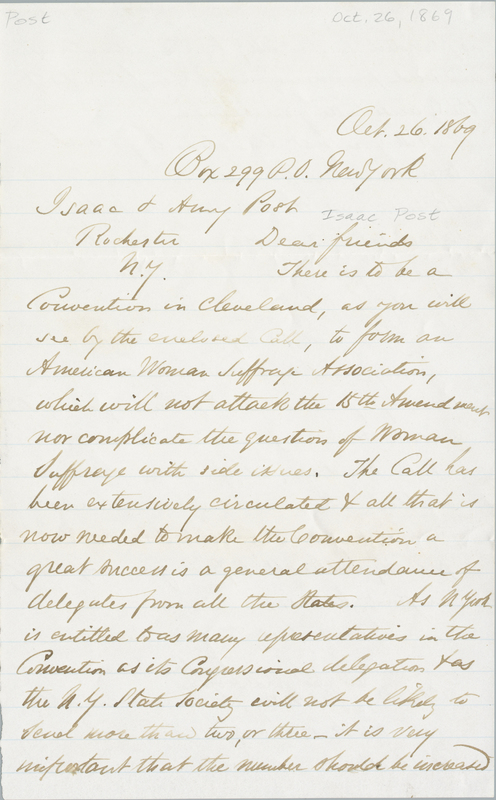 Letter from Lucy Stone to Amy Post, 1869