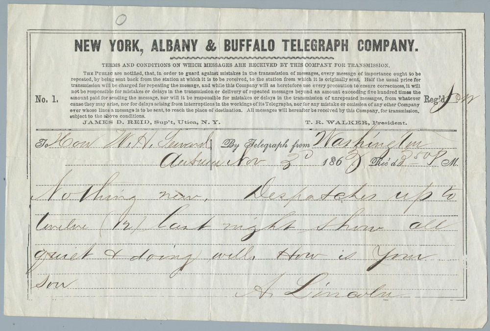 Telegraph note from Abraham Lincoln to William Henry Seward, November 3, 1863