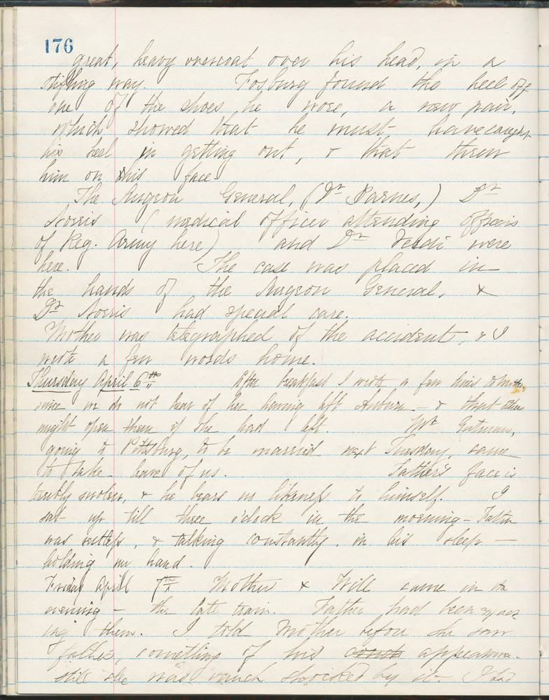 Diary entry from Fanny Seward, April 6, 1865