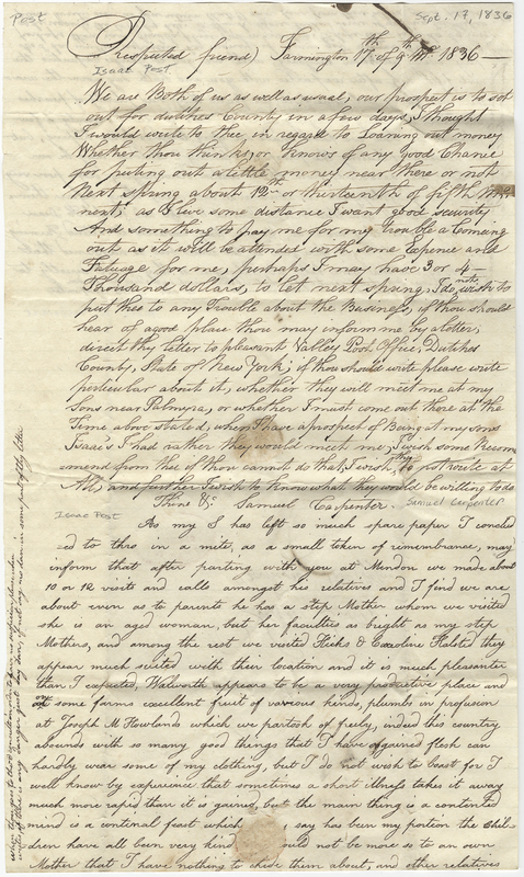 Carpenter, Phebe K. Letter to Isaac Post.
