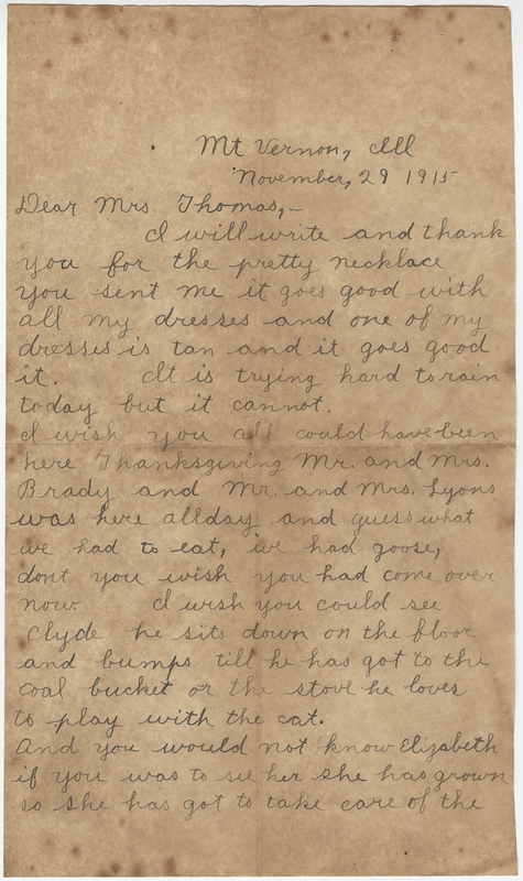 Rickley, Mabel. Letter to unknown recipient.