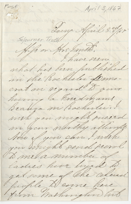 Andrews, Ruth. Letter to Sojourner Truth.