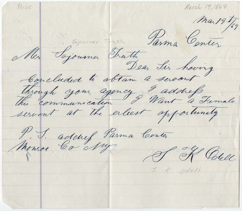 Odell, S. K. Letter to Sojourner Truth.