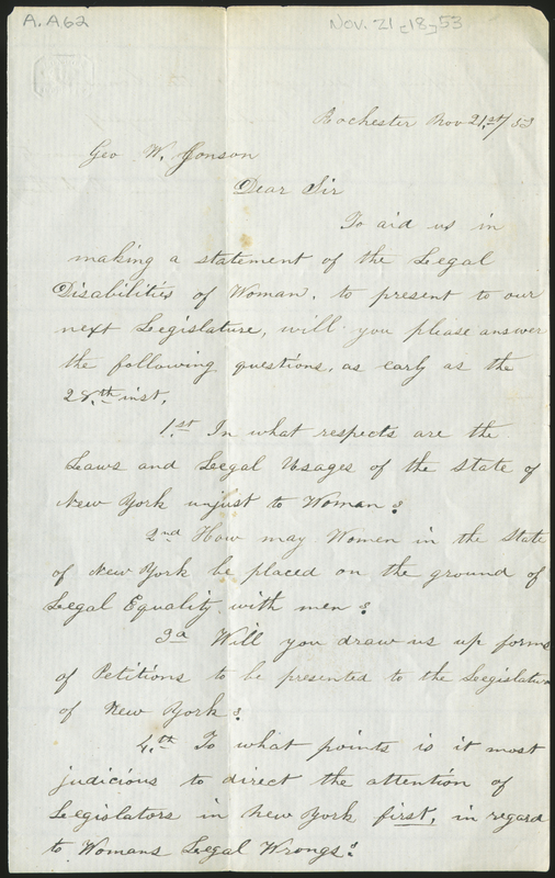 Letter from Susan B. Anthony to George W. Jonson, 1853