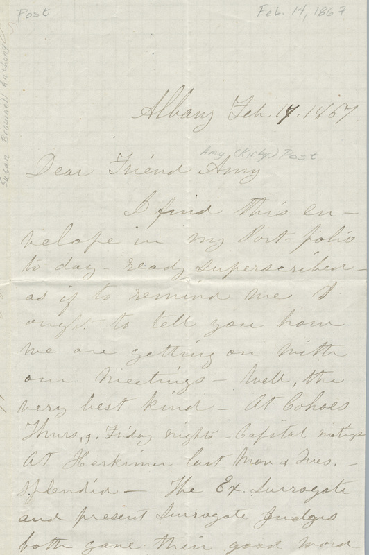 Letter from Susan B. Anthony to Amy Post (February 14, 1867)