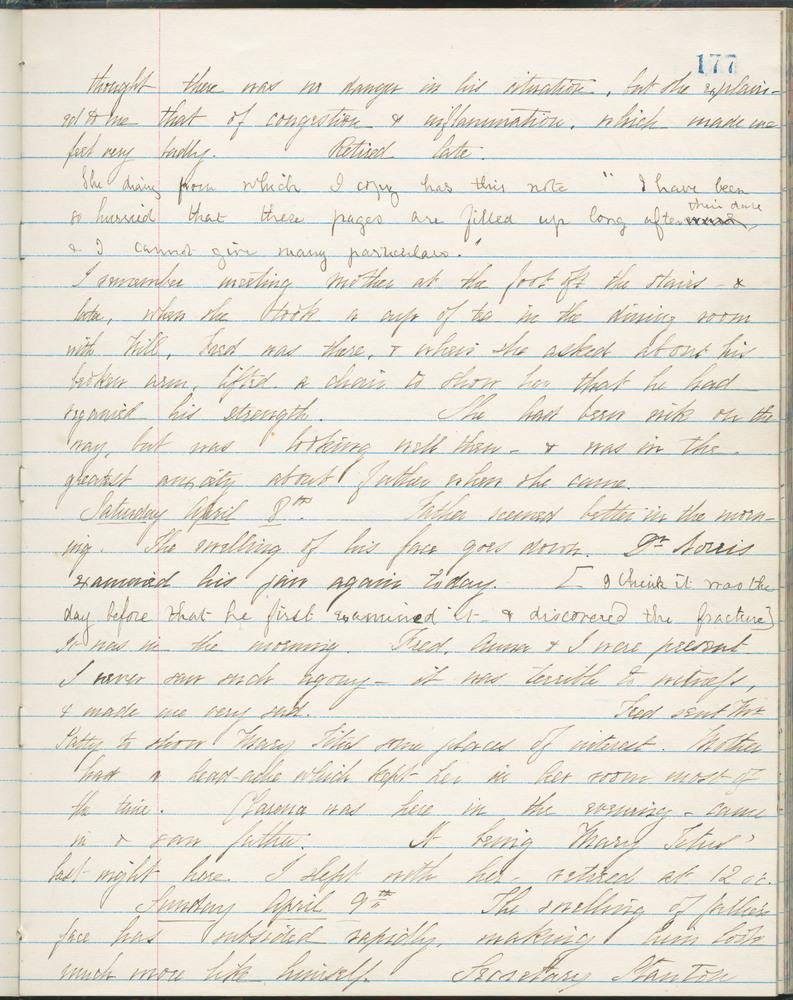 Diary entry from Fanny Seward, April 8, 1865