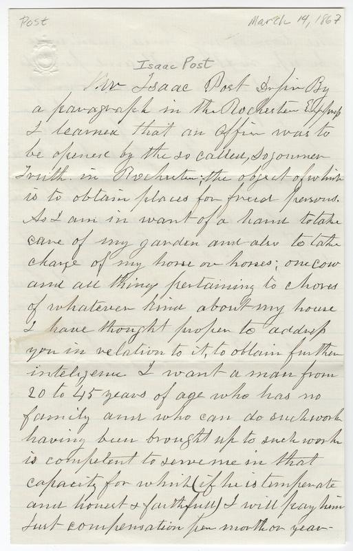 Carpenter, Davis ?. Letter to Isaac Post.