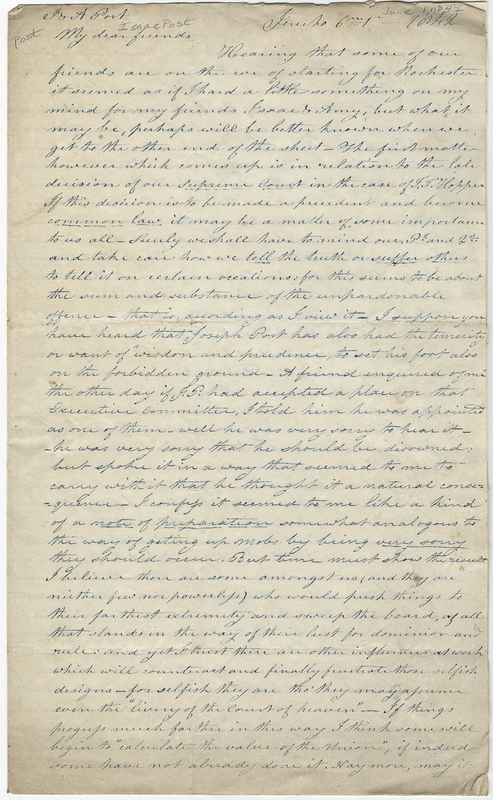 Ketcham, John. Letter to Isaac Post.
