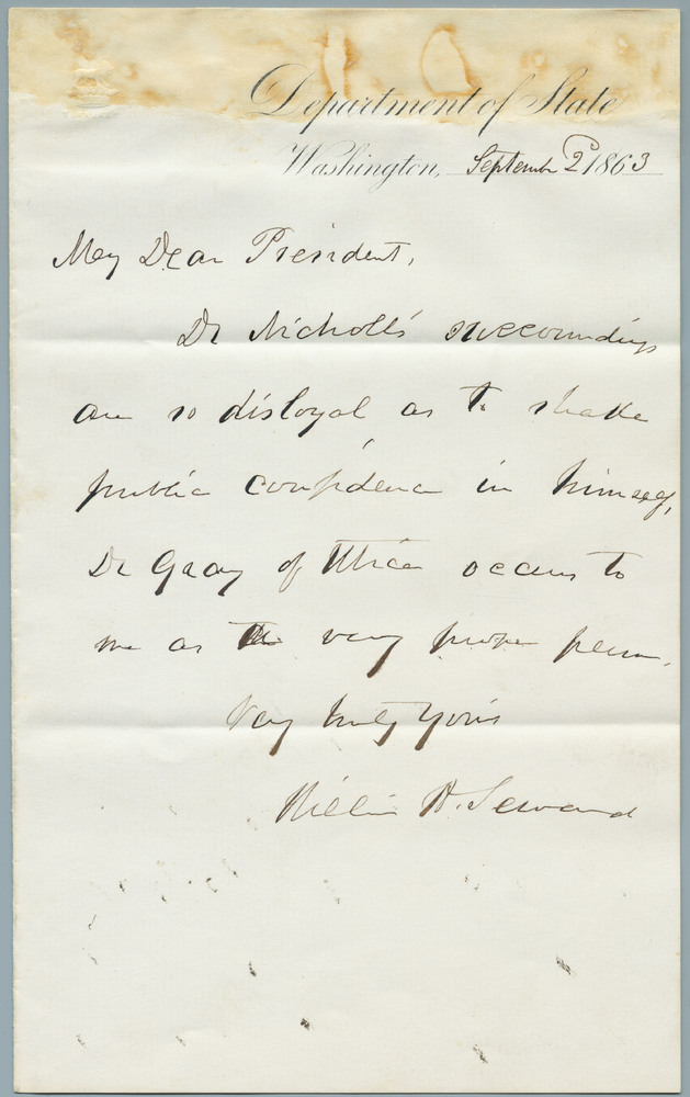 Note from William Henry Seward to Abraham Lincoln with response, September 2, 1863