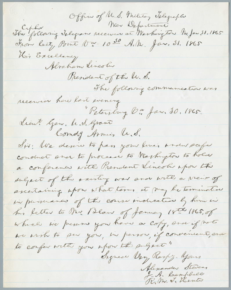 Telegraph note from Alexander Stephens to Abraham Lincoln, January 31, 1865