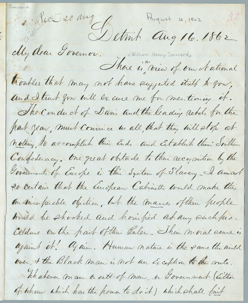 Letter from C.A. Trowbridge to William Henry Seward, August 16, 1862