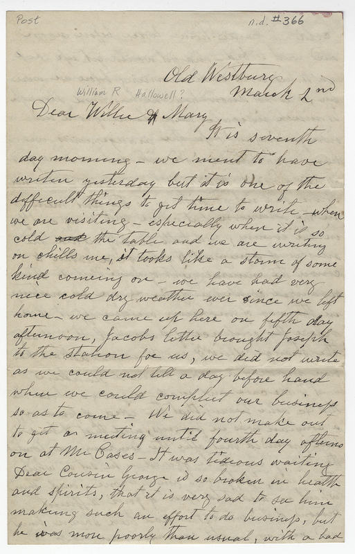 Willis, Sarah L Kirby Hallowell. Letter to Hallowell William R.