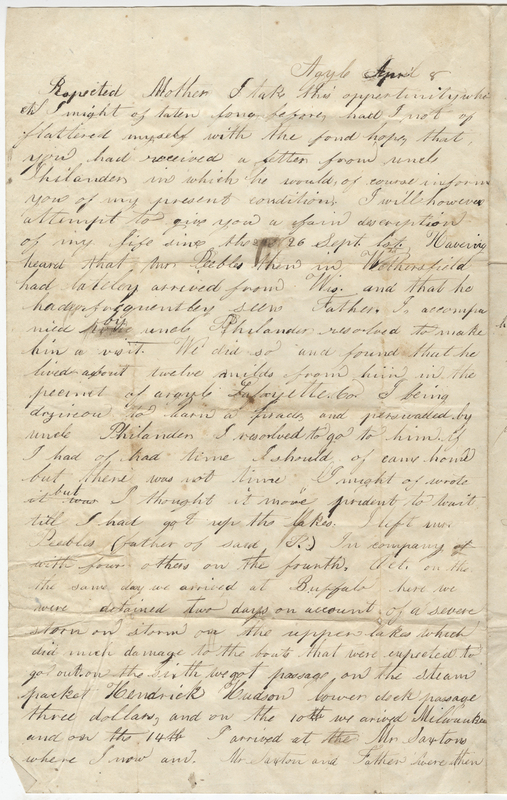 Eldred, Charles C. Letter to Gynena Eldred.