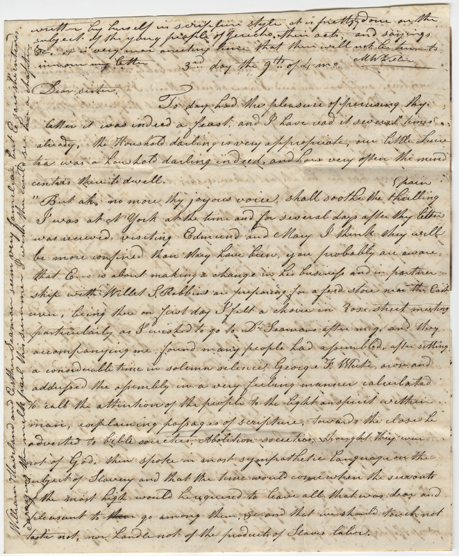 Willis, MW. Letter to Amy Kirby Post.