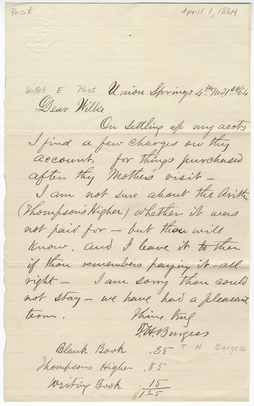 Burgess, T H. Letter to Willet E Post.