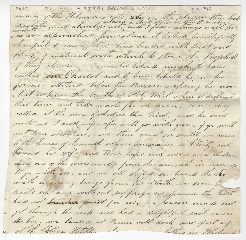Unknown writer. Letter to Sarah L Kirby Hallowell Willis.