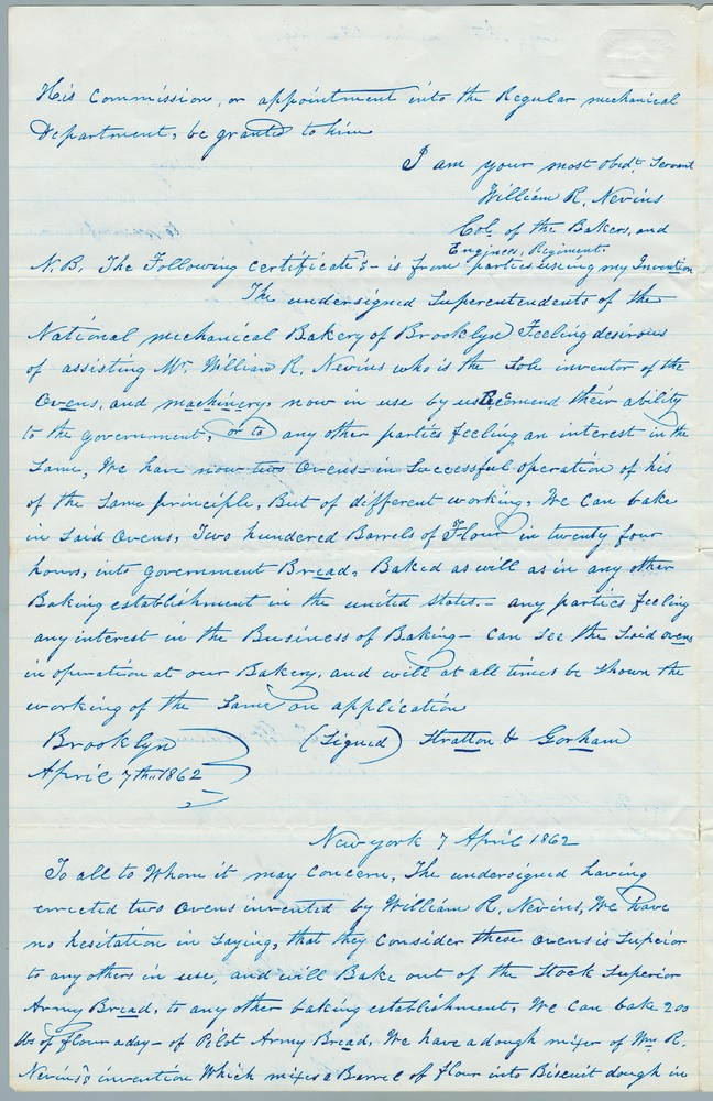 FIX--missing 15042 Letter from William R. Nevins to Abraham Lincoln, March 28, 1863
