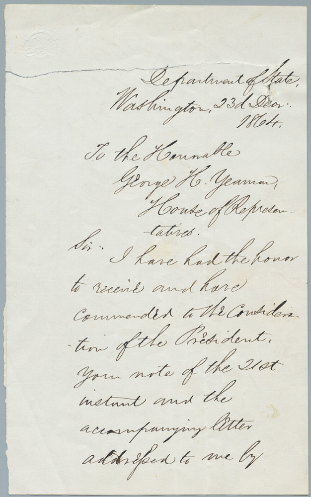 Letter from William Henry Seward to George H. Yeaman, December 24, 1864
