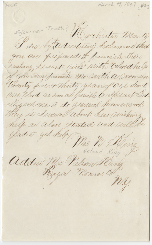 King, Nelson, Mrs. Letter to [Sojourner Truth?].