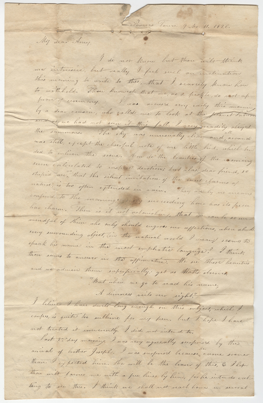 Post, Amy Kirby. Letter to Mary Ann Burkes?