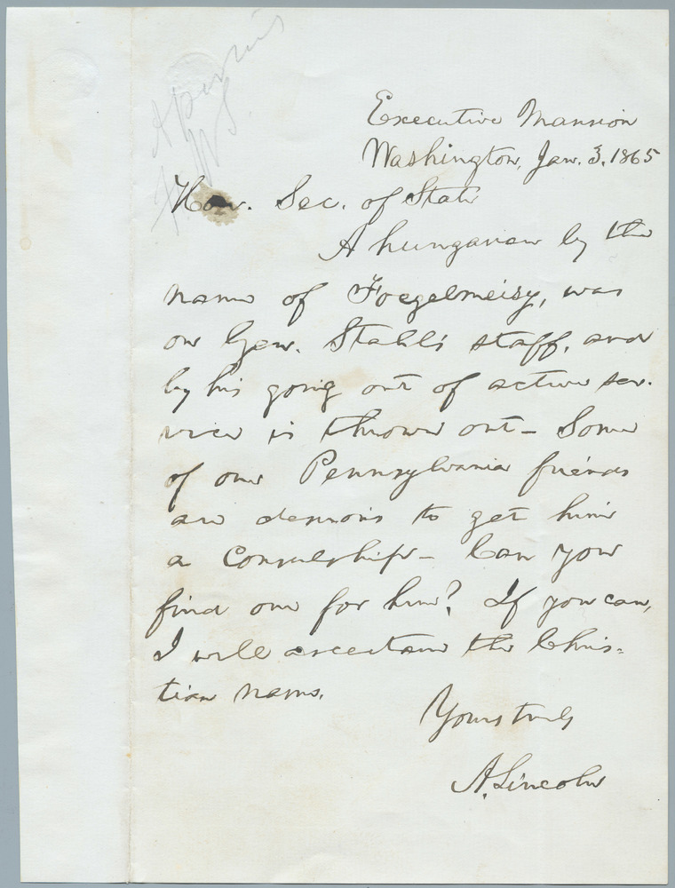 Letter from Abraham Lincoln to William Henry Seward, January 3, 1865