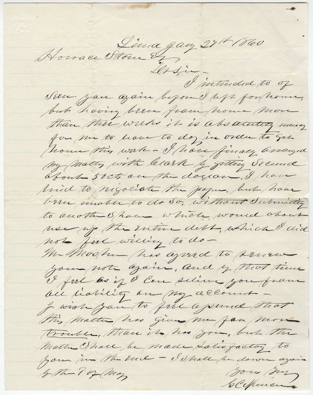 Spencer, G. C. Letter to Horace Stone.