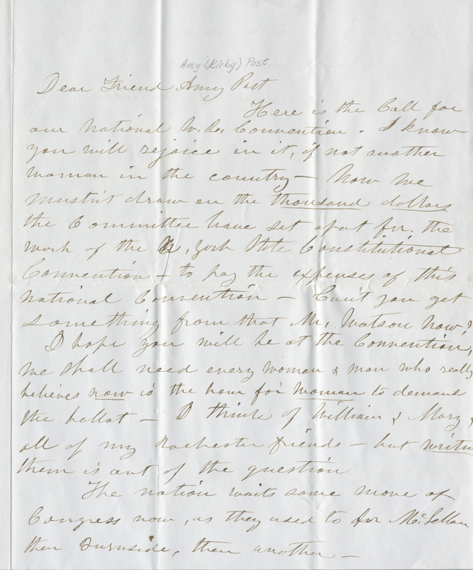 Note from Susan B. Anthony to Amy Post