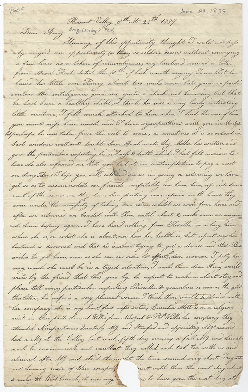 Carpenter, Phebe K. Letter to Amy Kirby Post.