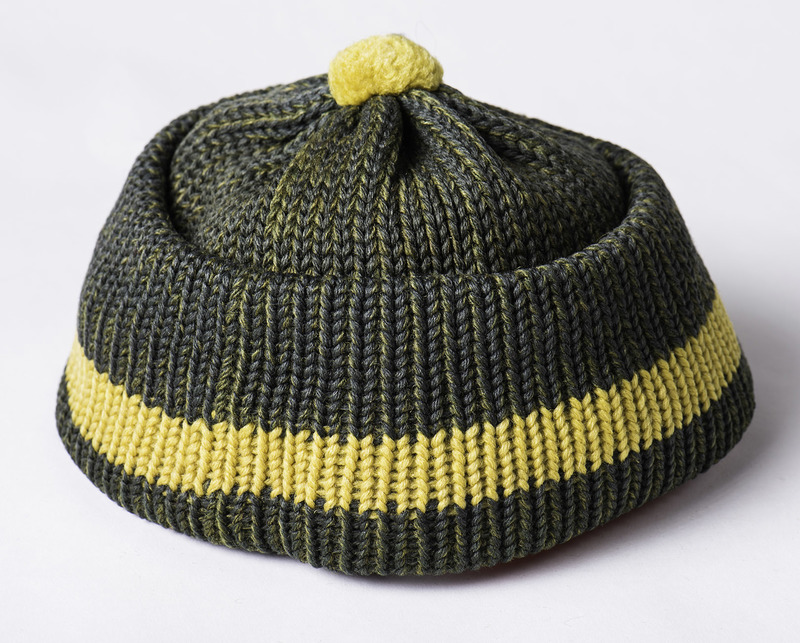 Green and yellow knit beanie