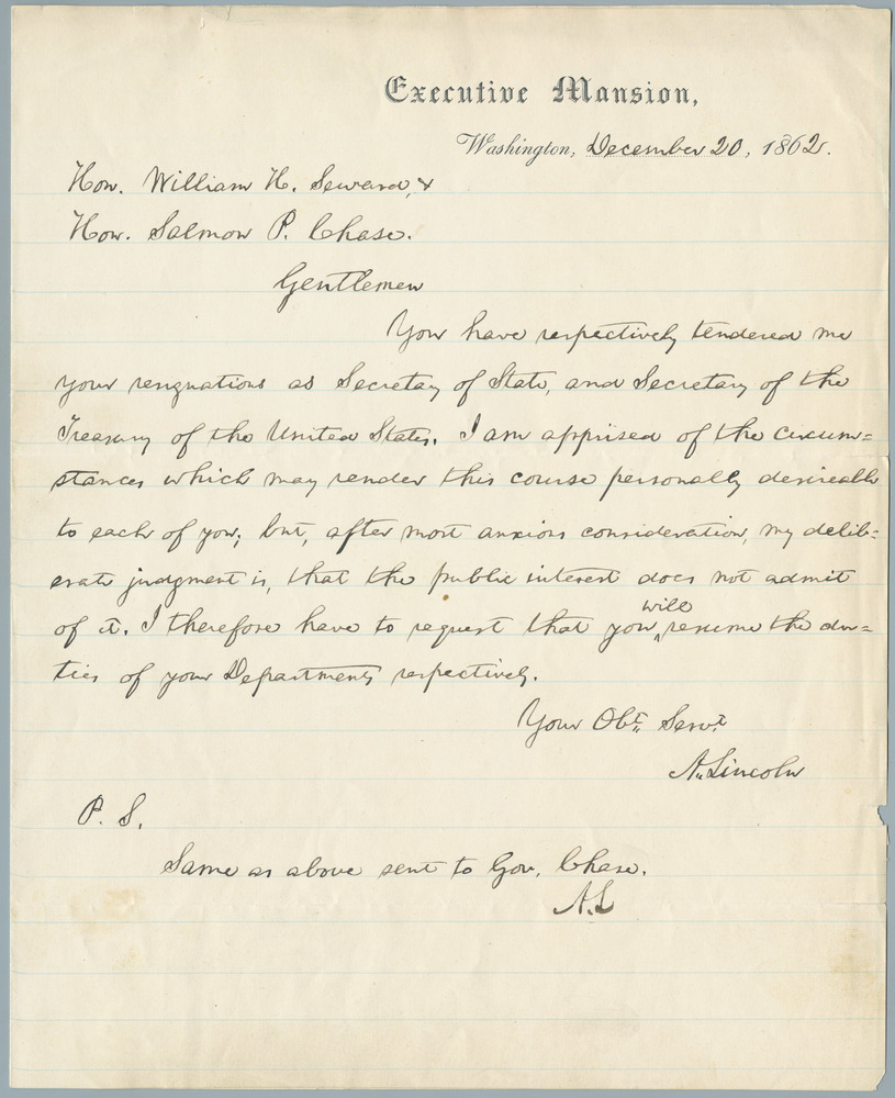 Letter from Abraham Lincoln to William Henry Seward and Salmon P. Chase, December 20, 1862