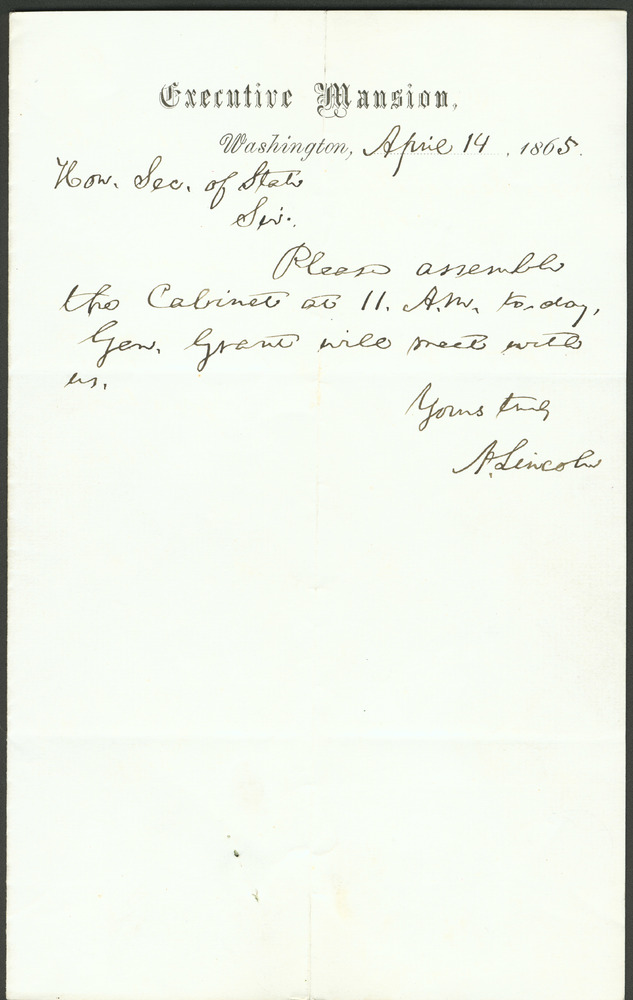 Note from Abraham Lincoln to William Henry Seward, April 14, 1865