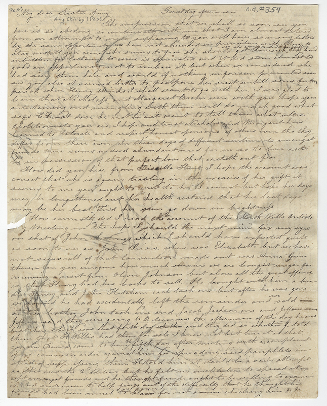 Willis, Phebe Post. Letter to Amy Kirby Post.