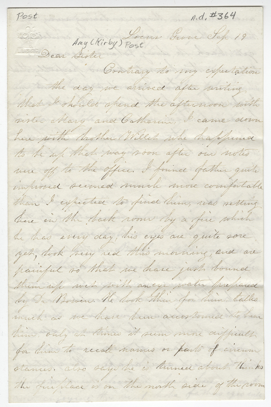 Willis, Sarah L Kirby H Allowell. Letter to Amy Kirby Post.