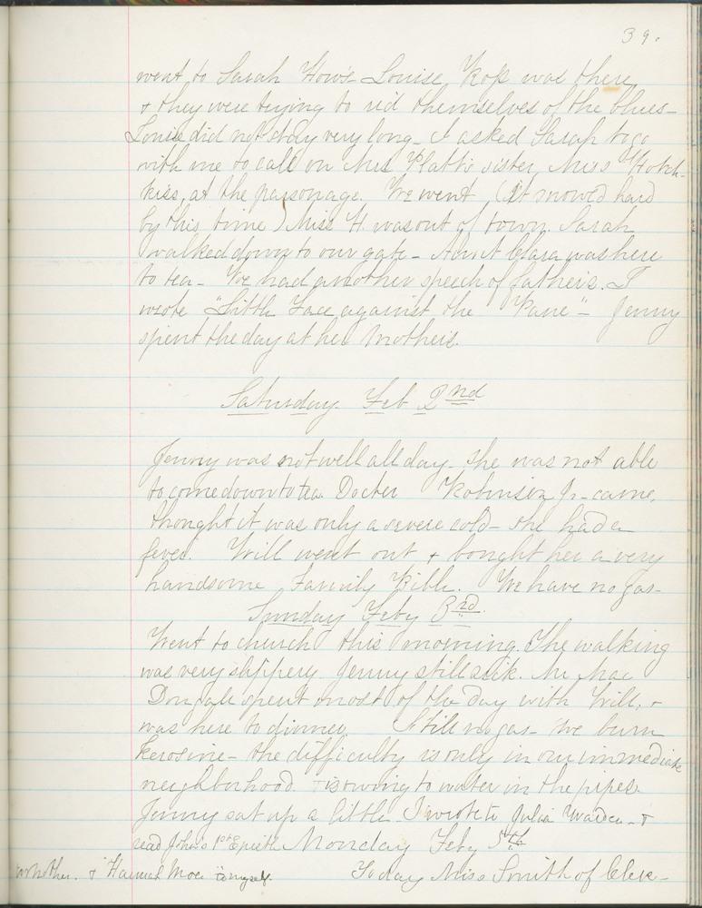 Diary entry from Fanny Seward, February 3, 1861