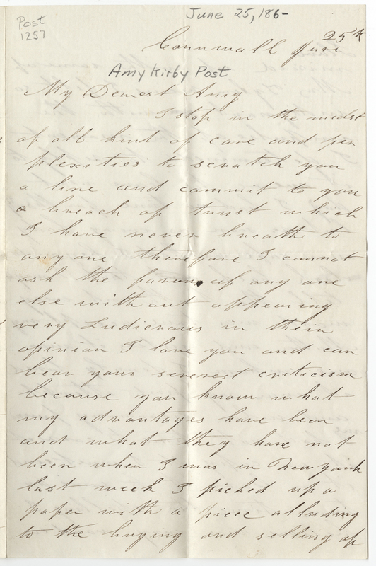 Jacobs, Harriet Brent. Letter to Amy Kirby Post.