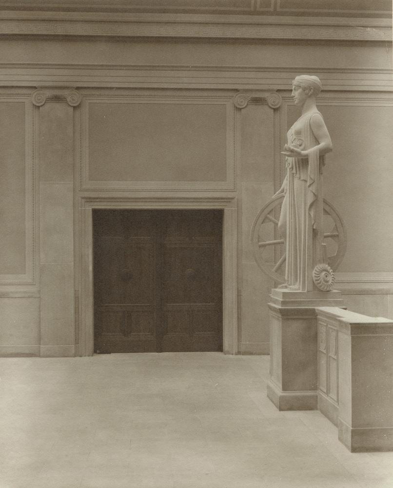 Rush Rhees Library: Grand Stairway, Statue of Industry