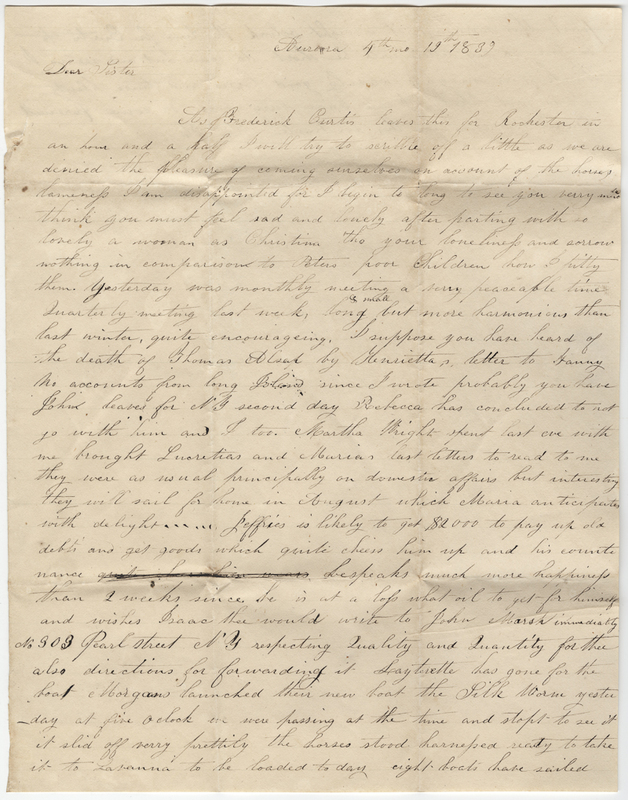 Humphrey, Susan Lee. Letter to Amy Kirby Post.