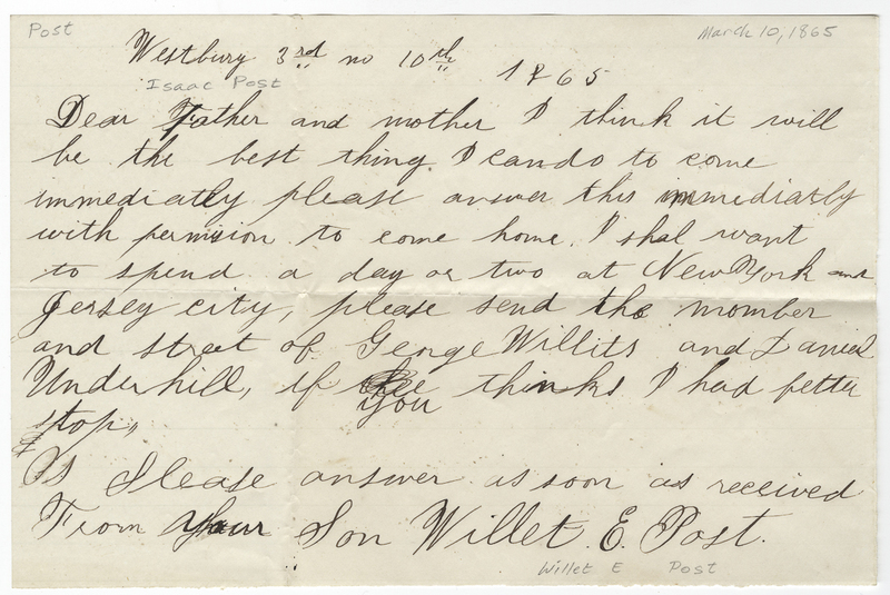 Post, Willet E. Letter to Isaac Post.