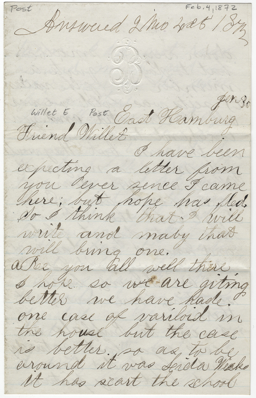 Brown, Joseph. Letter to Willet E Post.