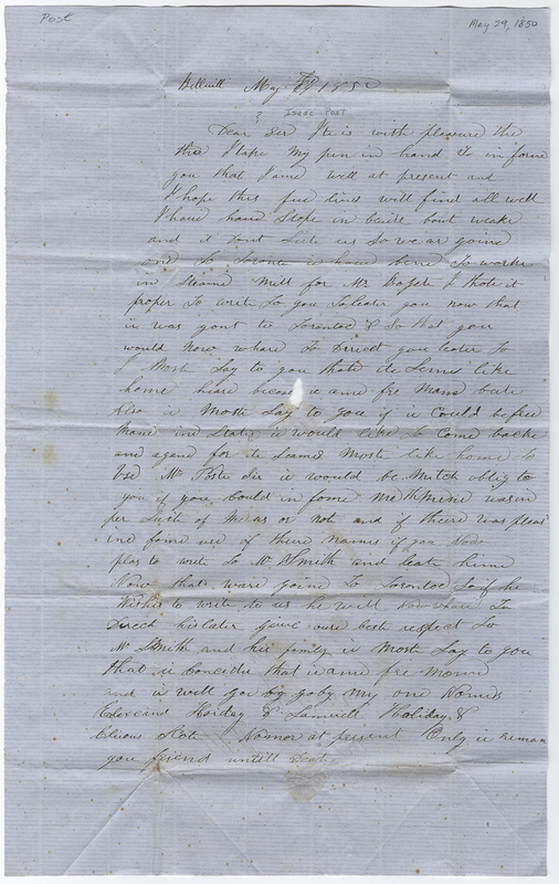 Unknown writer. Letter to Isaac Post.