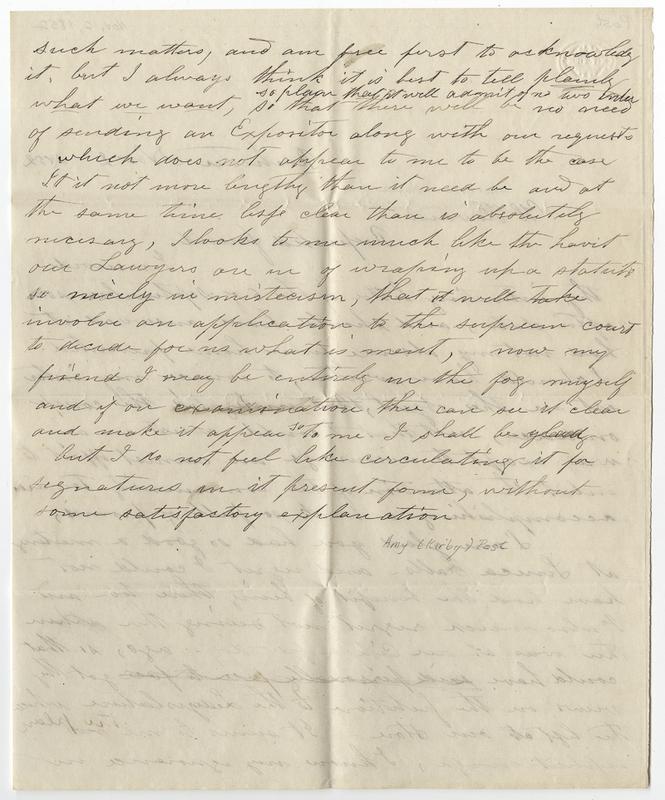 Post, Amy Kirby. Letter to Harrison Howard.