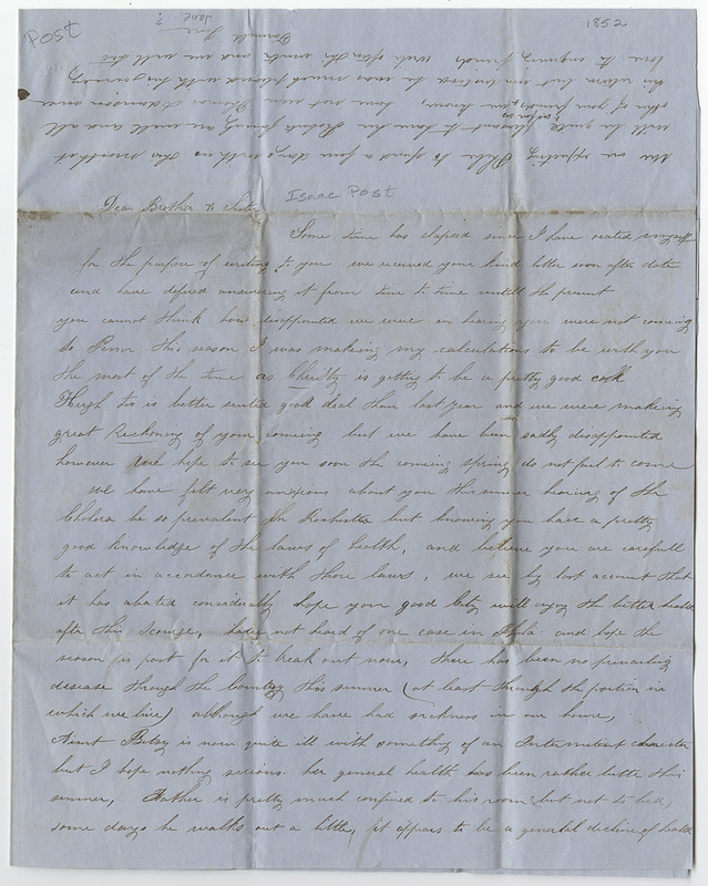 _____, Jane ?. Letter to Isaac ? Post.