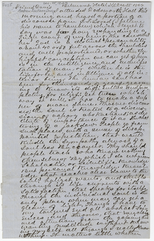 Wheeler, Edward. Letter to Andrew Jackson ? Davis.