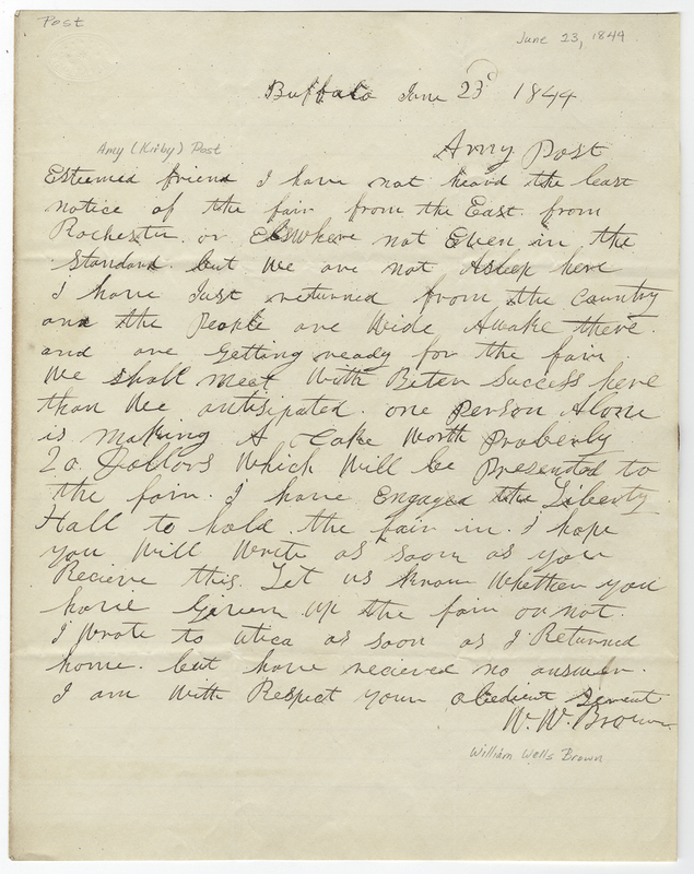 Brown, William Wells. Letter to Amy Kirby Post.
