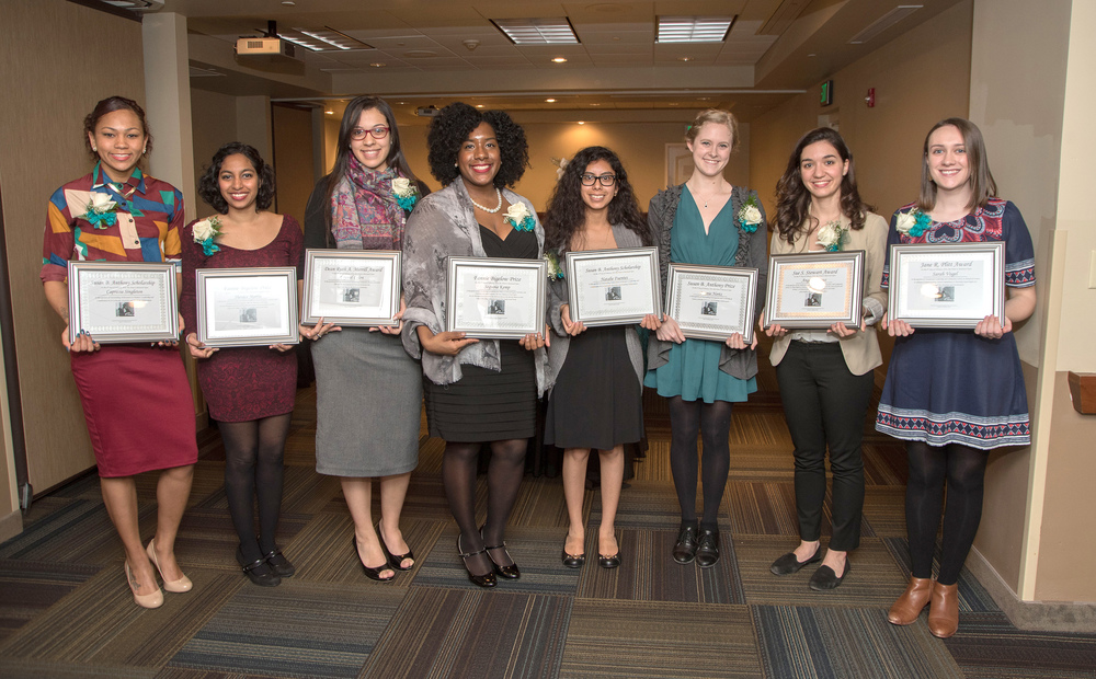 Award recipients, Susan B. Anthony Legacy Lunch, 2016. Left to right: Caprecia Singleton, Shenice Morris, Crystal Colon, Sequoia Kemp, Natalie Fuentes, Bonnie Nortz, Angela Remus, Sarah Vogel.