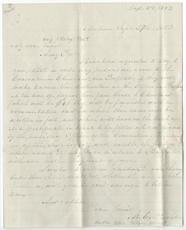 Wright, Martha Coffin Pelham. Letter to Amy Kirby Post.