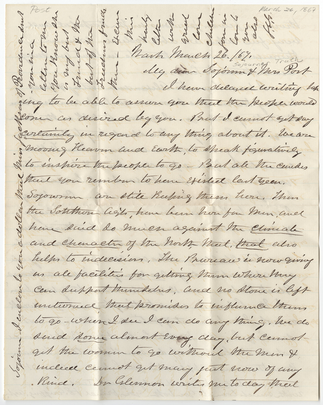 Griffing, Josephine Sophie White. Letter to Sojourner Truth and Amy Kirby Post.